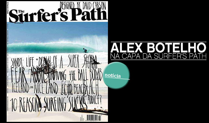 "6868Alex Botelho na capa da ""The Surfer's Path"""