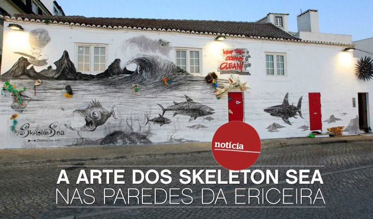 9821A arte dos Skeleton Sea nas paredes da Ericeira