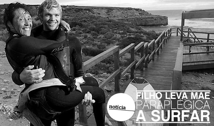 10451Filho leva mãe paraplégica a surfar