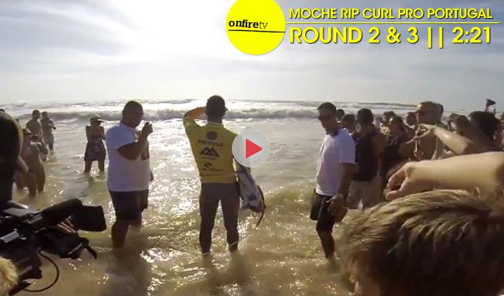 21064Medina, Pires e Von Rupp no MOCHE Rip Curl Pro Portugal || 2:21