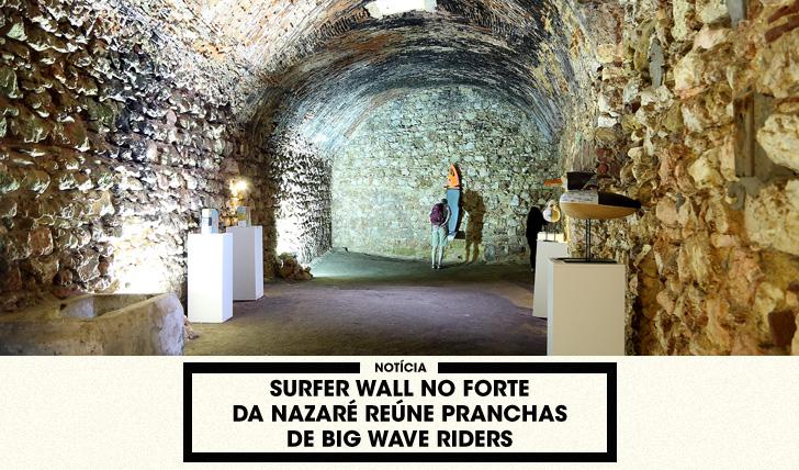 32186Surfer Wall no Forte da Nazaré reúne pranchas de big wave riders
